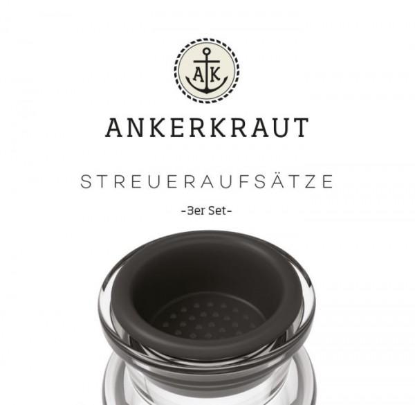 Ankerkraut Korkenglas Streuaufsatz, 3er Set