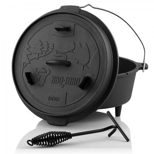 BBQ-Toro Dutch Oven DO6F mit Füße, 7,3L Forest Serie