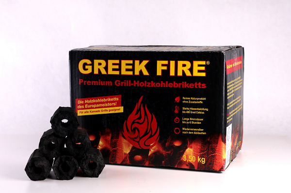 Greek Fire Premium Grill-Holzkohlebriketts, 3,5kg